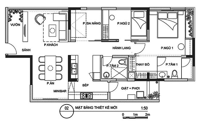Thiết kế căn hộ 100m2 3 phòng ngủ thoáng mát và tiện ích trong từng góc nhỏ - 2