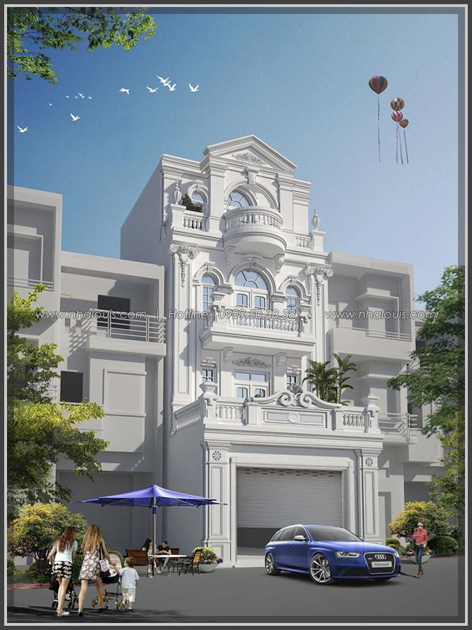 Thiết kế nhà phố mặt tiền 6m tại Bình Tân theo kiểu Pháp đẹp lộng lẫy