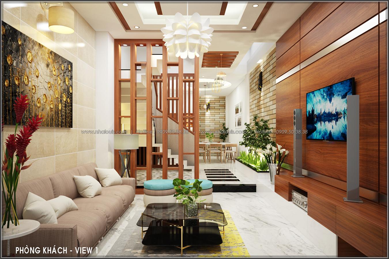 Thiết kế nội thất tone gỗ cho nhà ống quận Tân Bình đẹp ấm áp và sang trọng