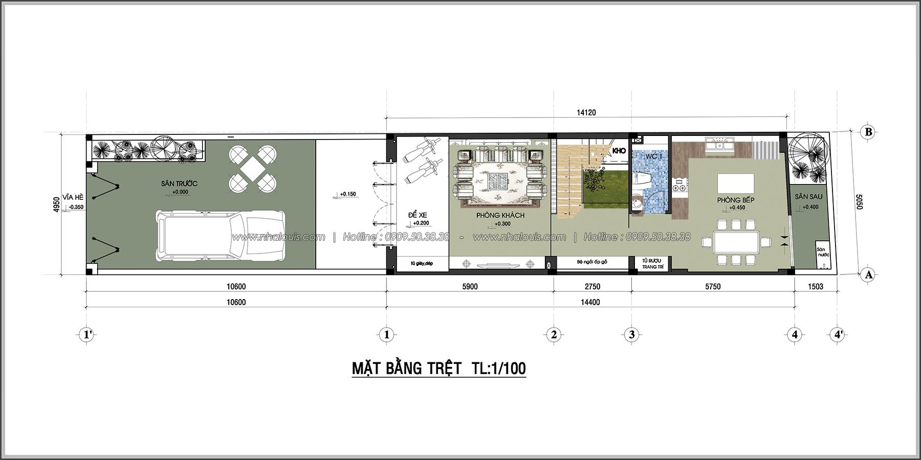 Thiết kế nhà 3 tầng mặt tiền 5m ở Quận 12 đẹp hiện đại và sang trọng - 04