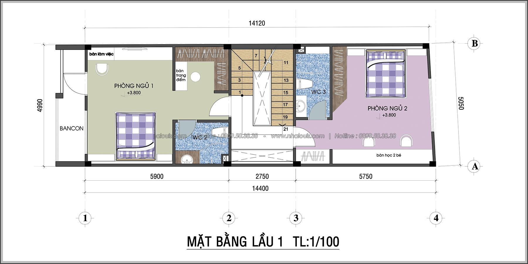 Thiết kế nhà 3 tầng mặt tiền 5m ở Quận 12 đẹp hiện đại và sang trọng - 05