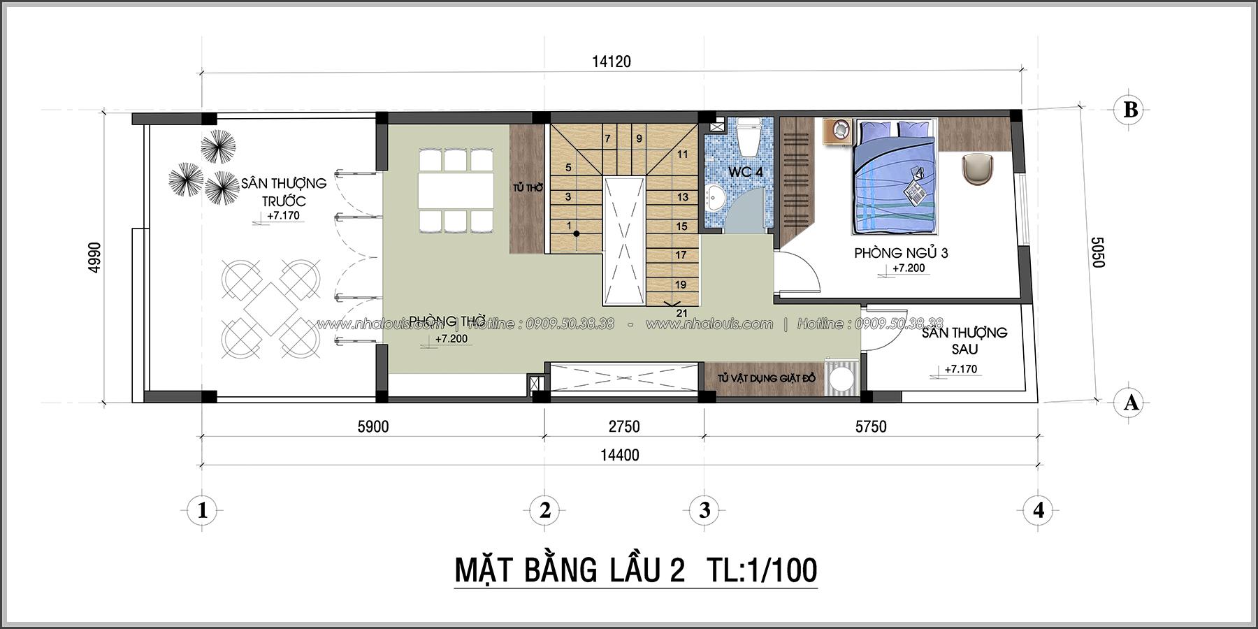 Thiết kế nhà 3 tầng mặt tiền 5m ở Quận 12 đẹp hiện đại và sang trọng - 06