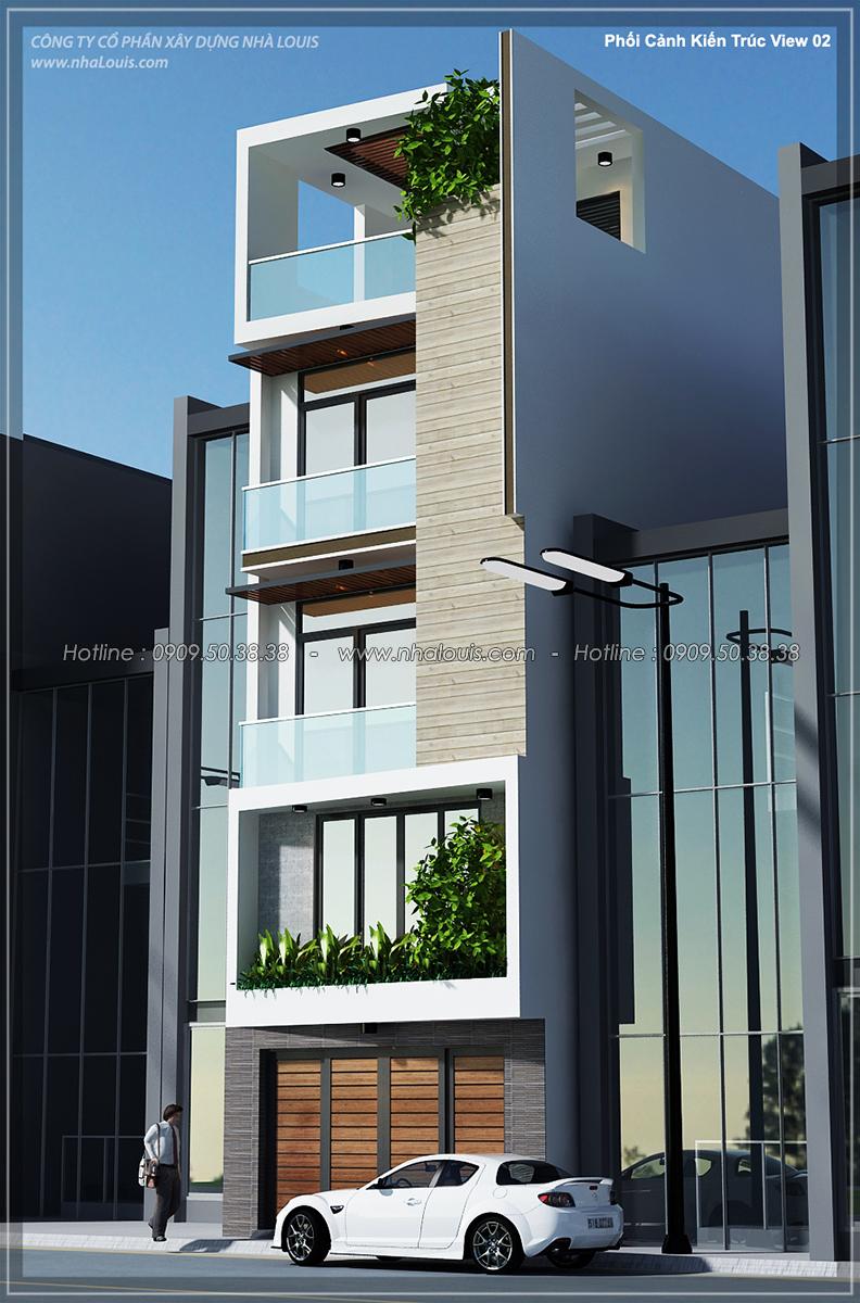 Thiết kế nhà ống 4 tầng tại Tân Bình mặt tiền 5m có gara ô tô tiện lợi - 02