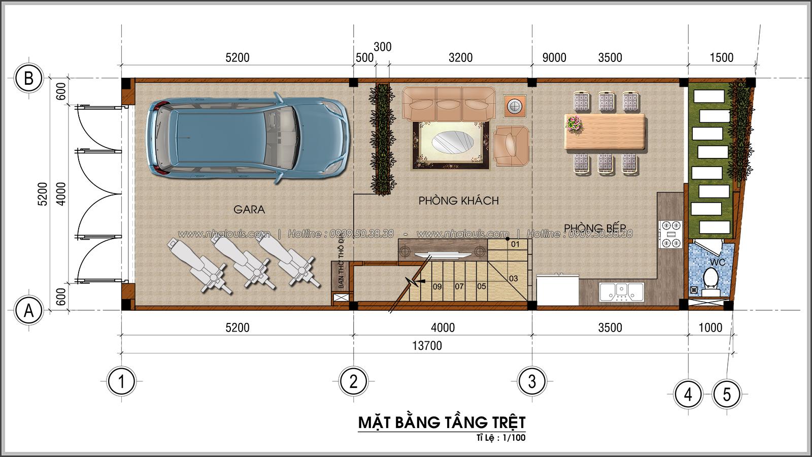 Thiết kế nhà ống 4 tầng tại Tân Bình mặt tiền 5m có gara ô tô tiện lợi - 03
