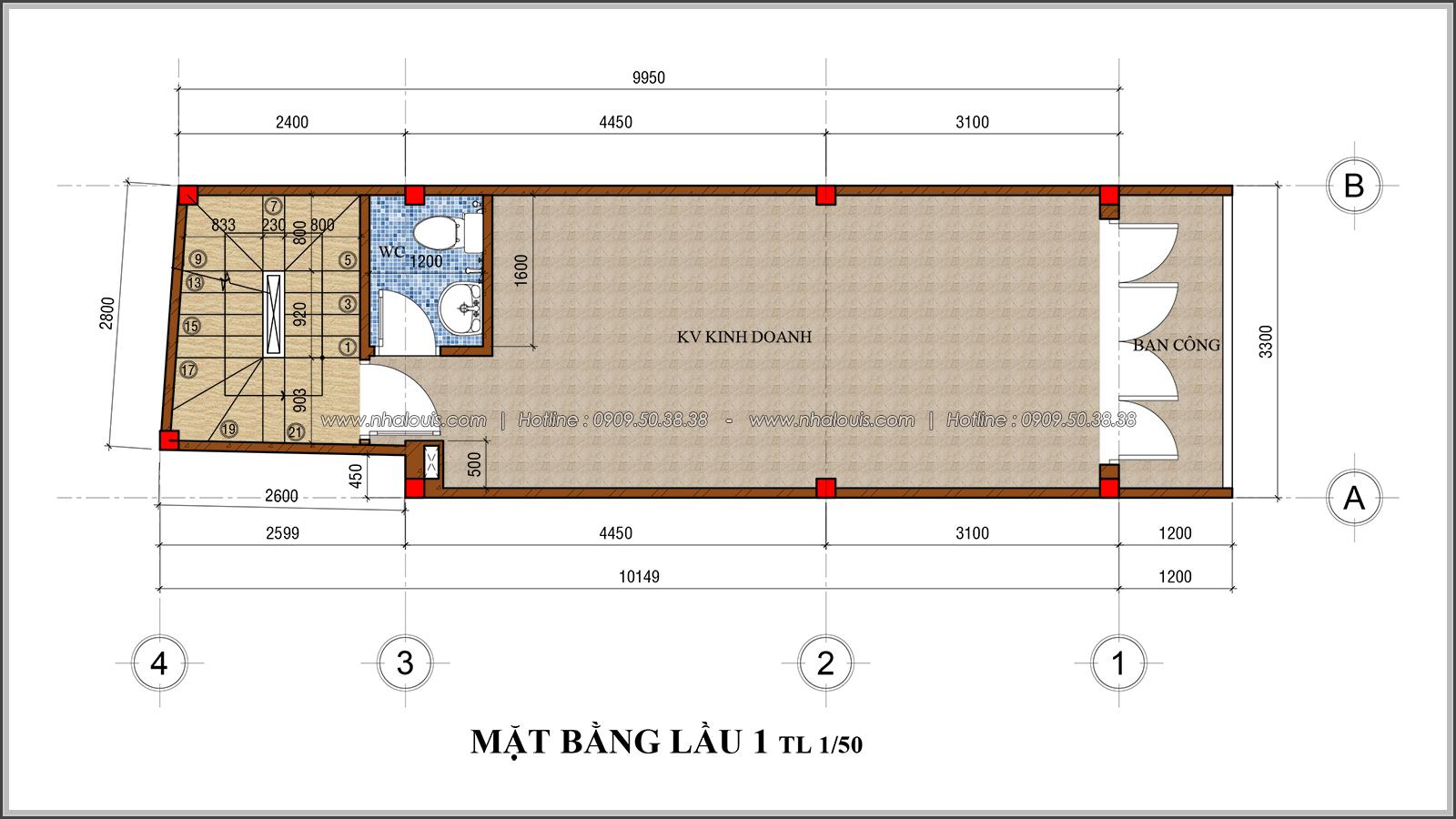 Thiết kế nhà phố 4 tầng kết hợp kinh doanh mặt tiền 3.3m tại chợ Tân Bình - 05