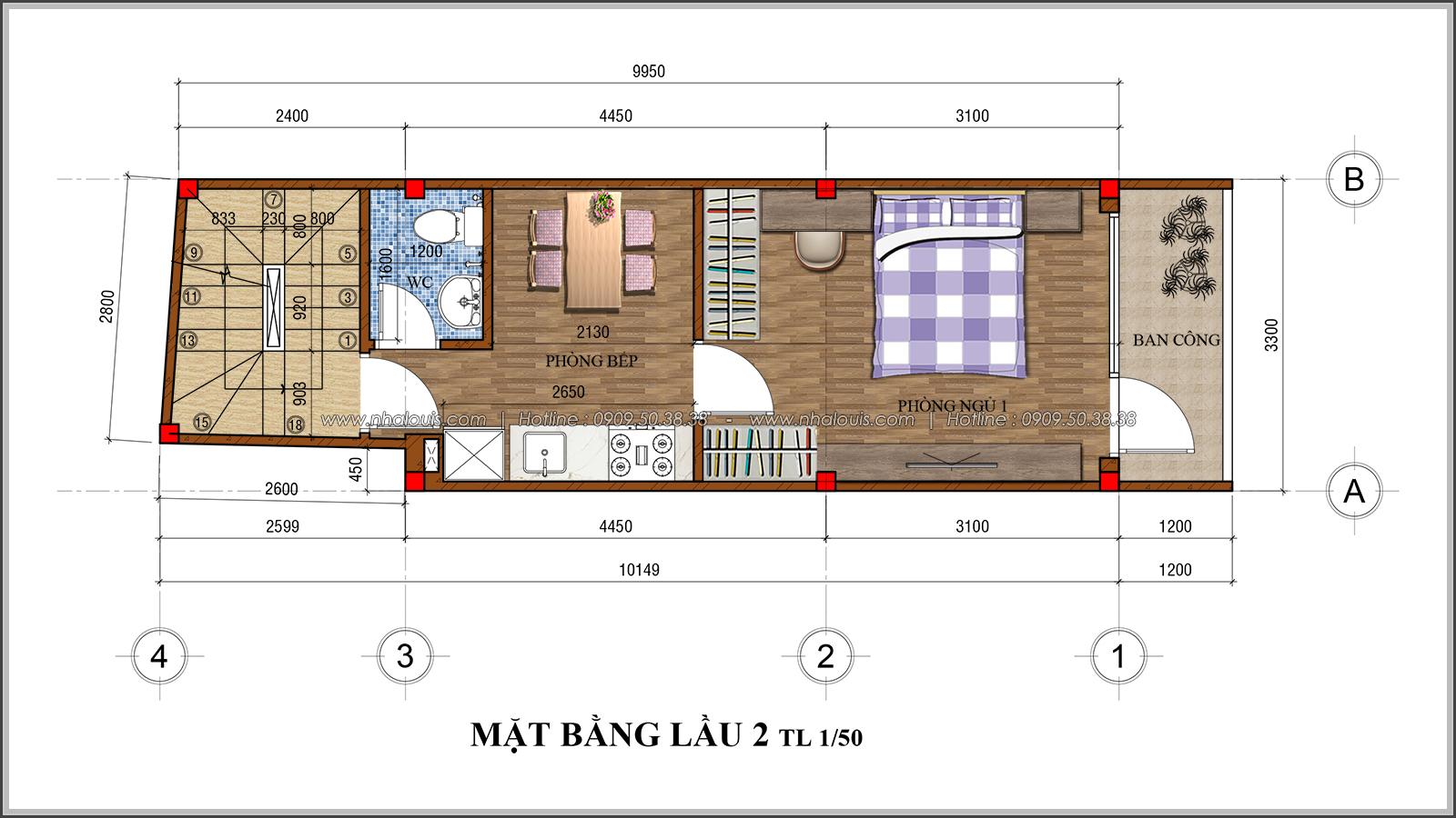 Thiết kế nhà phố 4 tầng kết hợp kinh doanh mặt tiền 3.3m tại chợ Tân Bình - 06