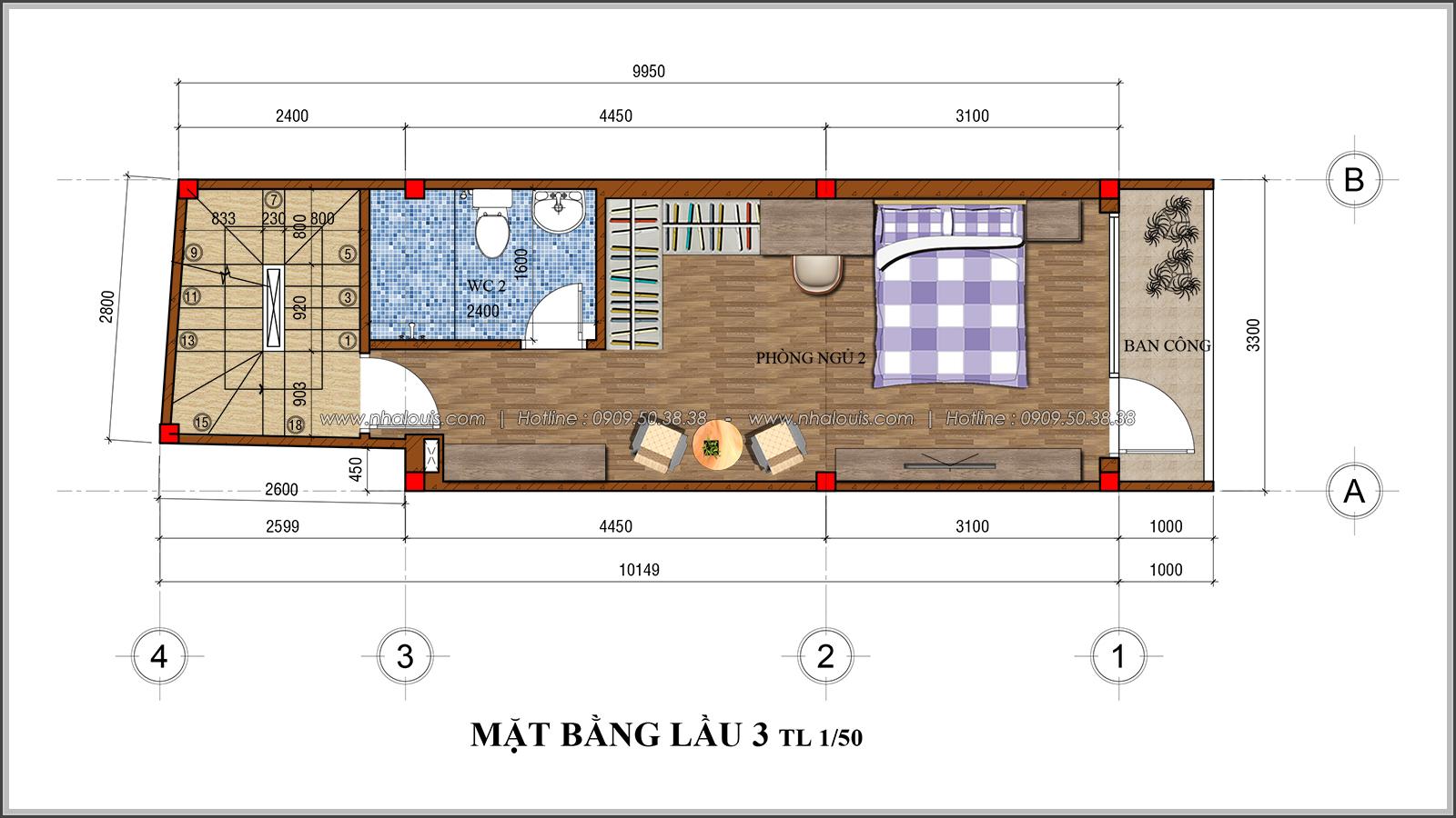 Thiết kế nhà phố 4 tầng kết hợp kinh doanh mặt tiền 3.3m tại chợ Tân Bình - 07