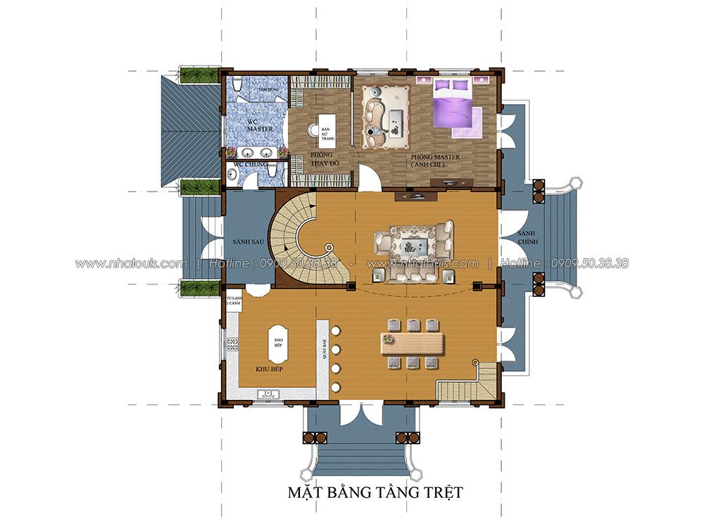 Thiết kế biệt thự có tầng hầm tại Bình Dương kiểu Pháp cao 2 tầng - 04