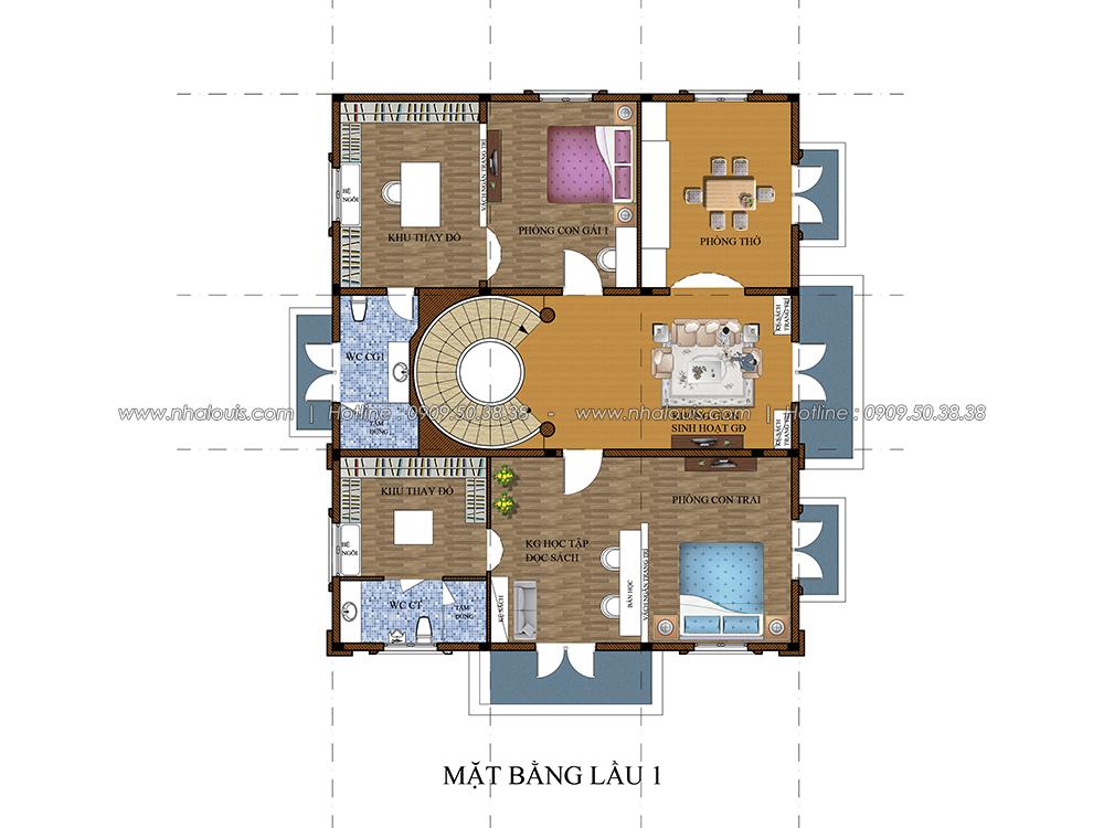 Thiết kế biệt thự có tầng hầm tại Bình Dương kiểu Pháp cao 2 tầng - 05