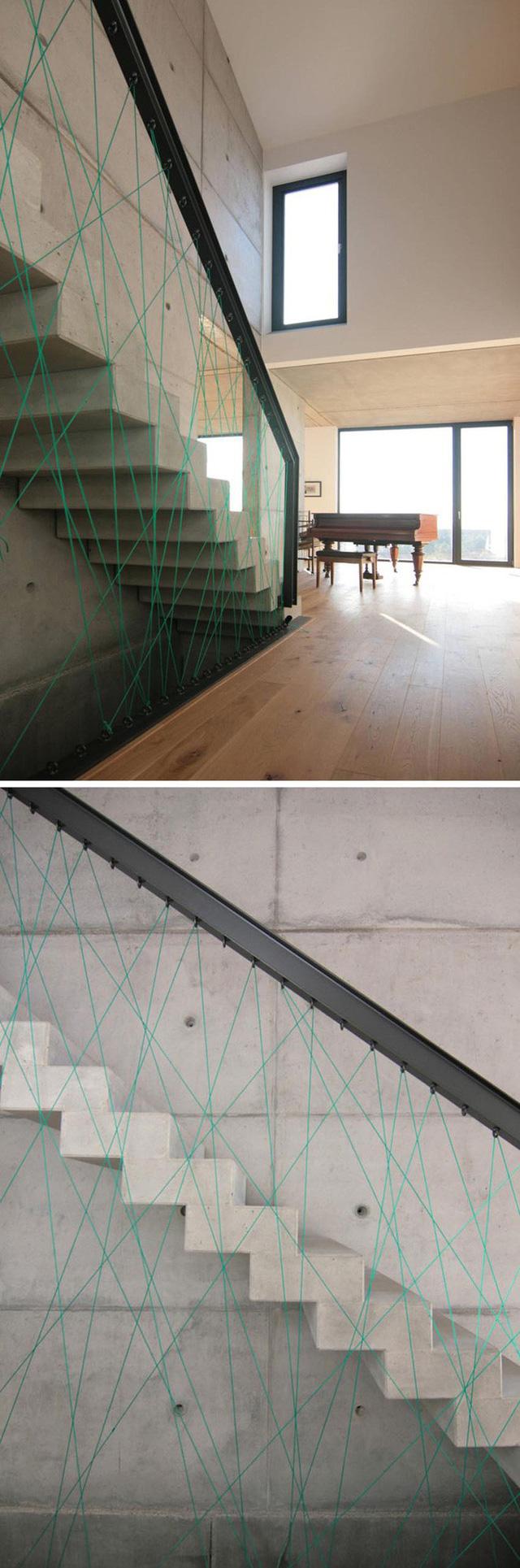 Điểm nhấn với cầu thang dây tạo không gian kiến trúc nhà độc lạ
