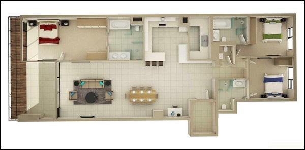 Top 5 thiết kế căn hộ 3 phòng ngủ được yêu thích nhất năm 2018 - 03