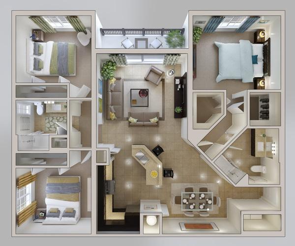 Top 5 thiết kế căn hộ 3 phòng ngủ được yêu thích nhất năm 2018 - 05