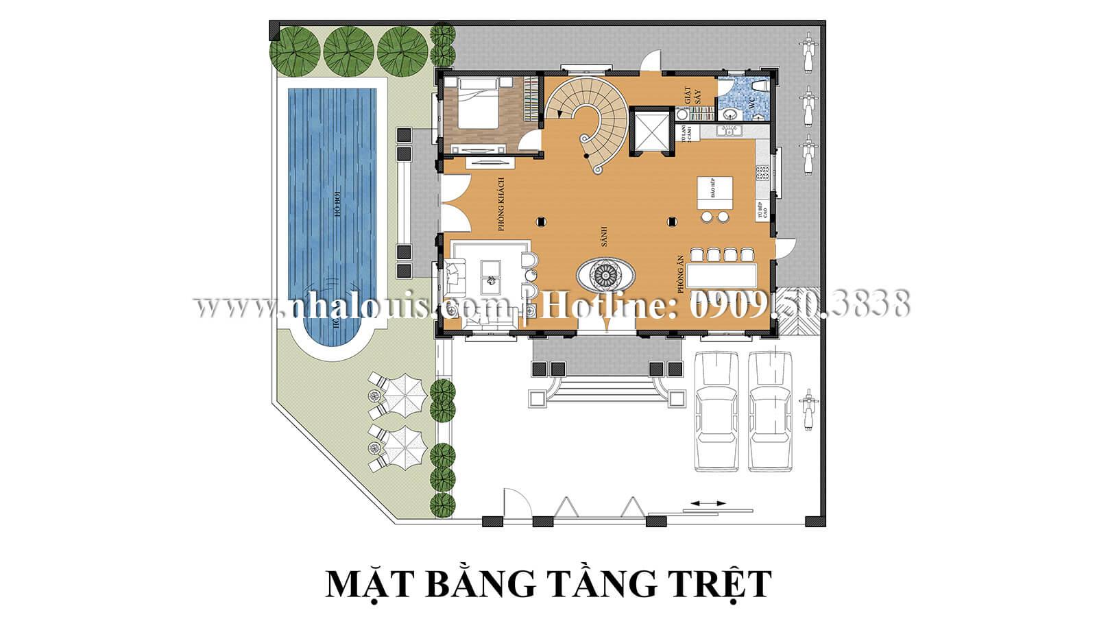 Mặt bằng tầng trệt Mẫu thiết kế biệt thự kiểu pháp bề thế và đẳng cấp tại Quận 9 - 04