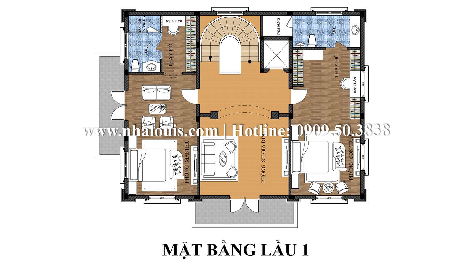 Mặt bằng tầng 1 Mẫu thiết kế biệt thự kiểu pháp bề thế và đẳng cấp tại Quận 9 - 06