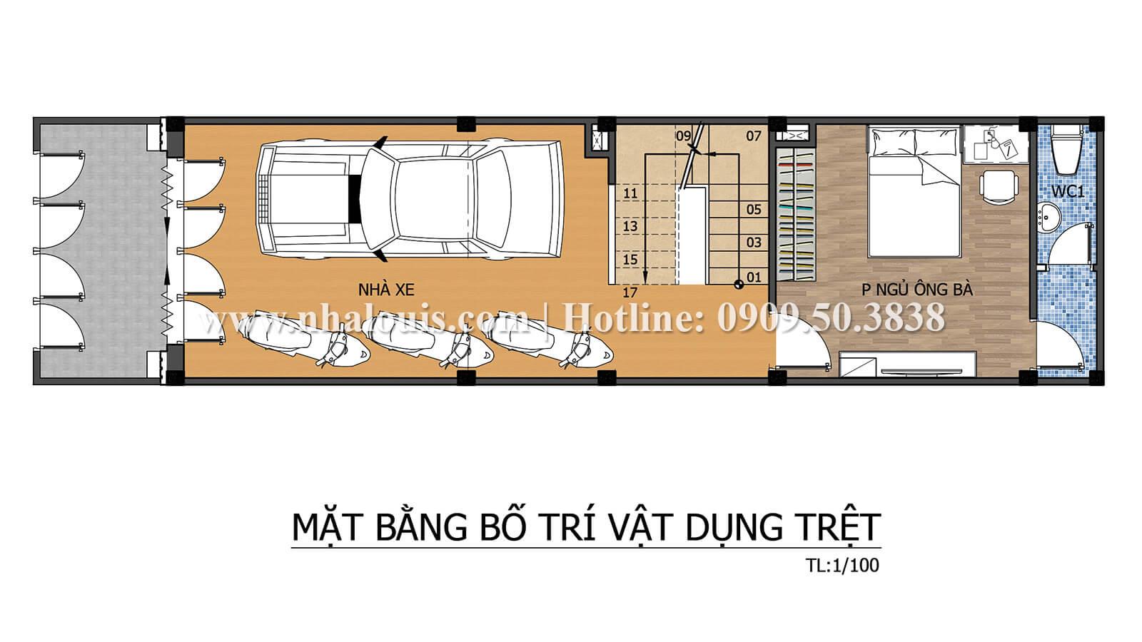 Mặt bằng tầng trệt Thiết kế nhà ống có tầng lửng phong cách tân cổ điển tại Quận 6 - 04