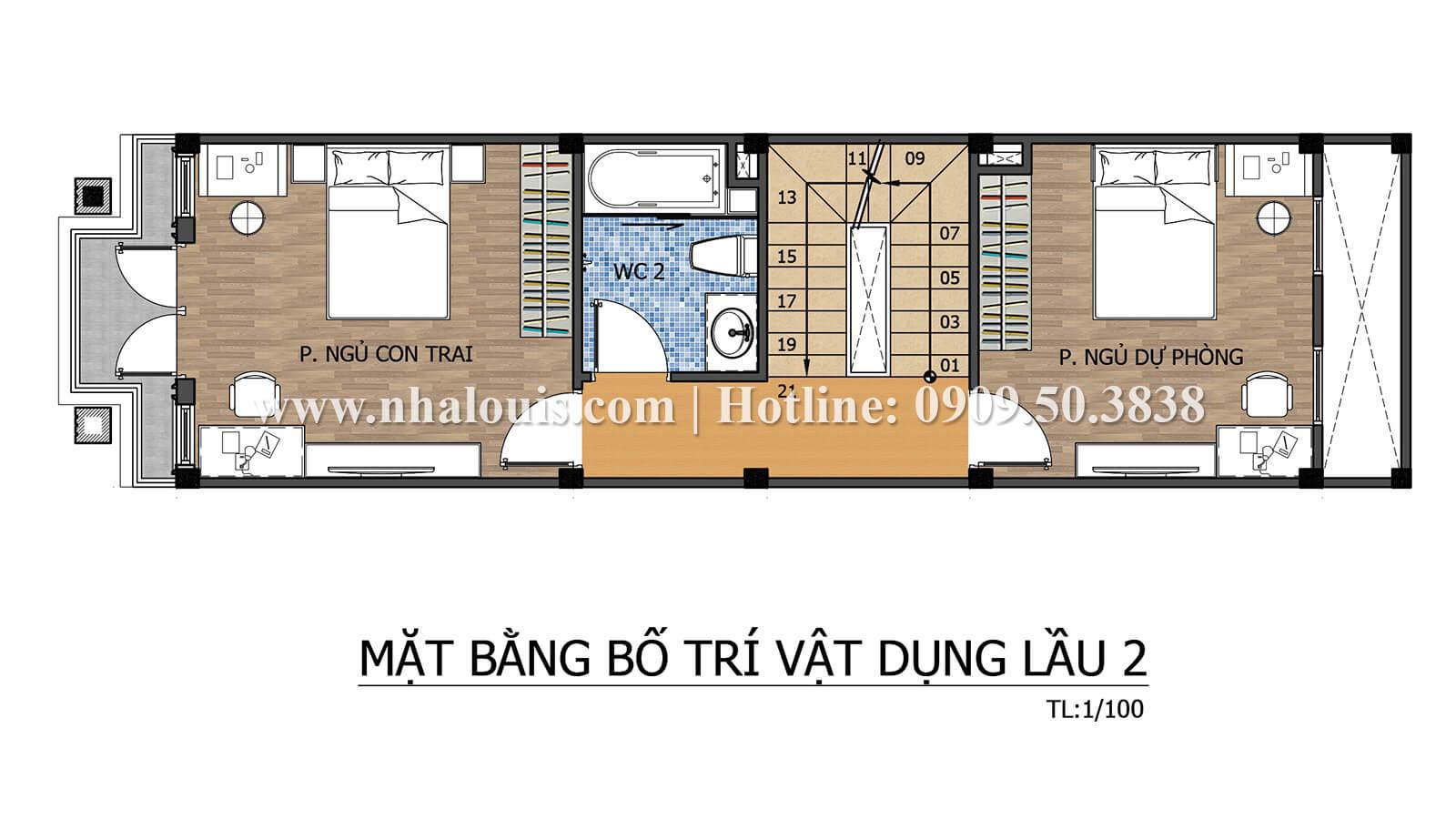 Mặt bằng tầng 2 Thiết kế nhà ống có tầng lửng phong cách tân cổ điển tại Quận 6 - 19