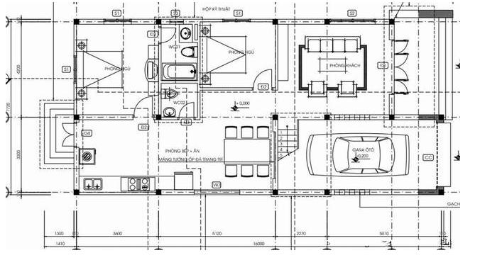 Mặt bằng tầng 1 được thiết kế khác hoàn toàn khác biệt nhờ vào khối liên thông, thống nhất giữa 2 dãy với nhau
