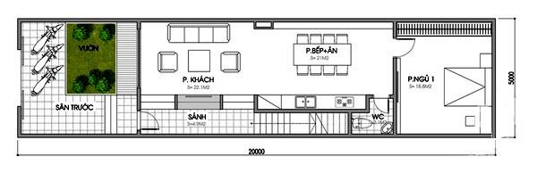 Phòng khách được đặt liên thông với phòng ăn, gian bếp, nhà vệ sinh chung và một phòng ngủ là điểm nổi bật của tầng 1