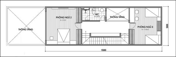 Tầng 2 của phong cách thiết kế này bao gồm 2 phòng ngủ và 1 phòng vệ sinh