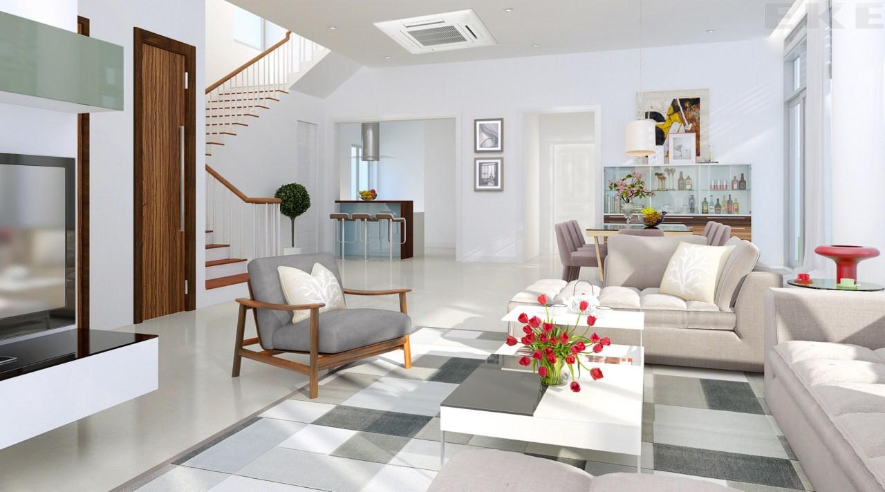 Các chuyên gia thiết kế nhà đẹp khuyên bạn nên chọn chiều cao sàn thấp bởi điều này sẽ giúp bạn tiết kiệm năng lượng máy lạnh