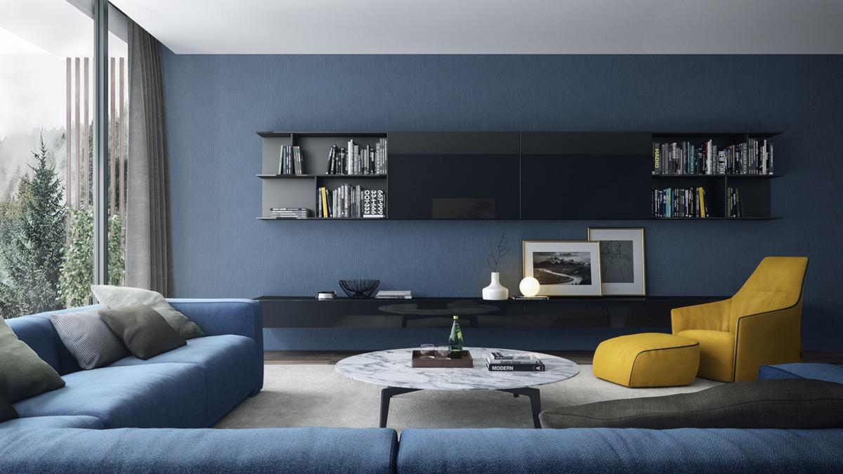 Màu xanh chính là màu sơn phù hợp cho phòng khách nhà ống cho người mệnh Mộc