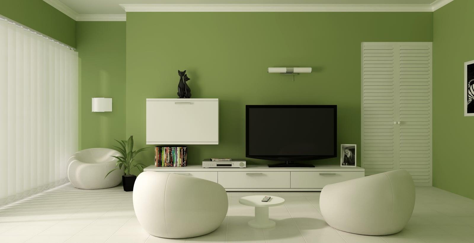 Để không gian phòng khách được tinh tế, thanh lịch, gia chủ nên chọn thêm màu xanh lục để tạo một không gian hài hòa, thoải mái