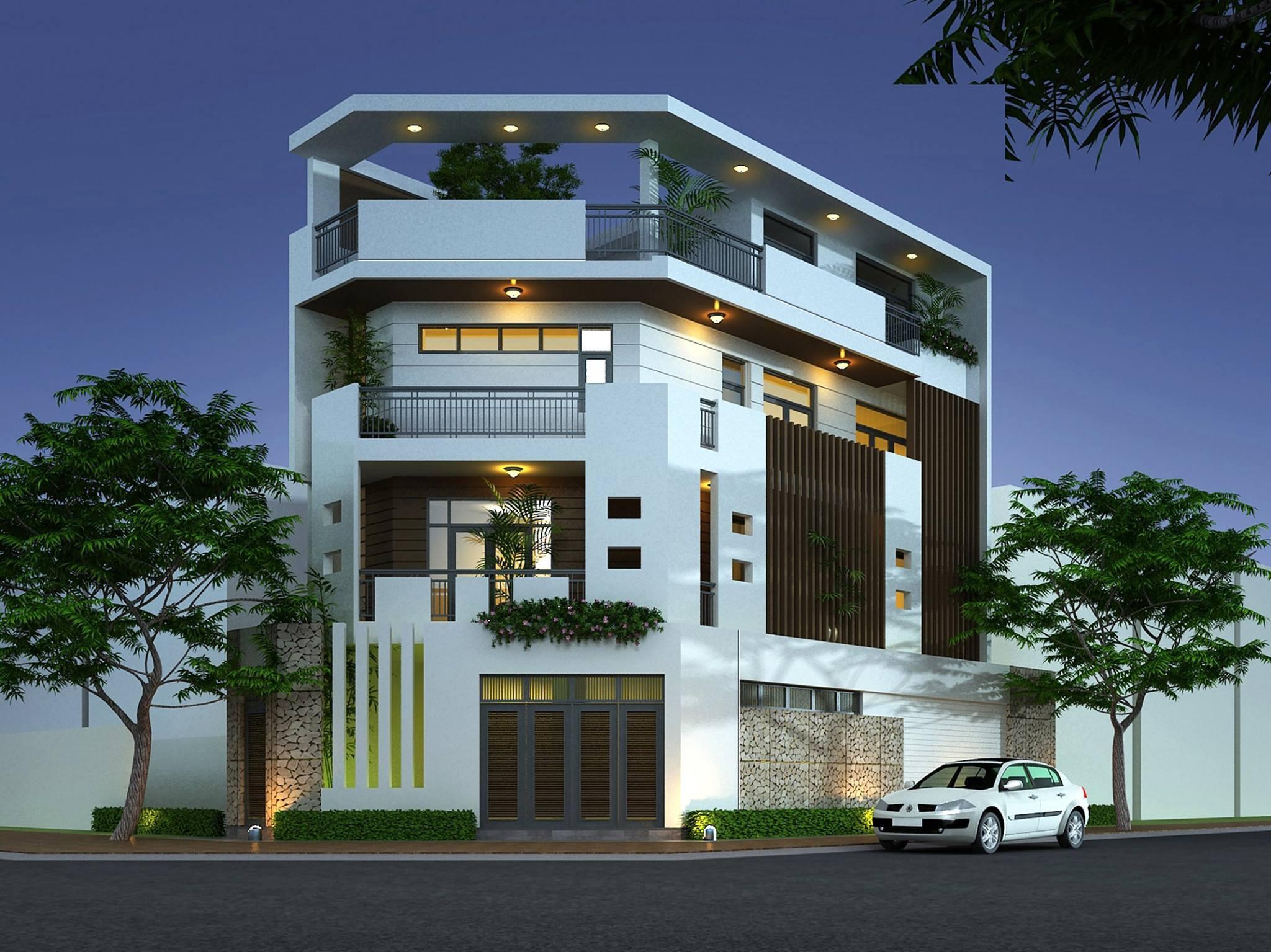 Ngôi nhà hai mặt tiền sẽ đạt được sự thông thoáng nhất định với không gian thiên nhiên nhờ vào diện tích rộng rãi