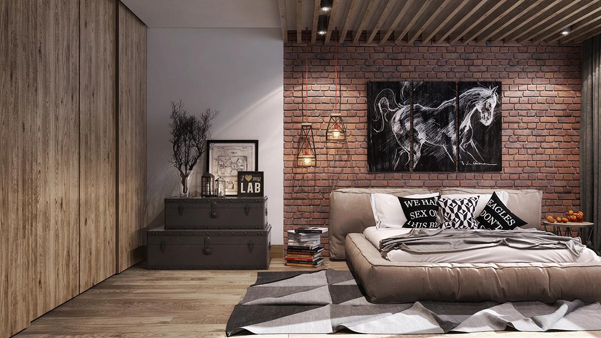 Một bức tường gạch thô hài hòa sẽ mang đến phong cách phóng khoáng, đầy táo bạo