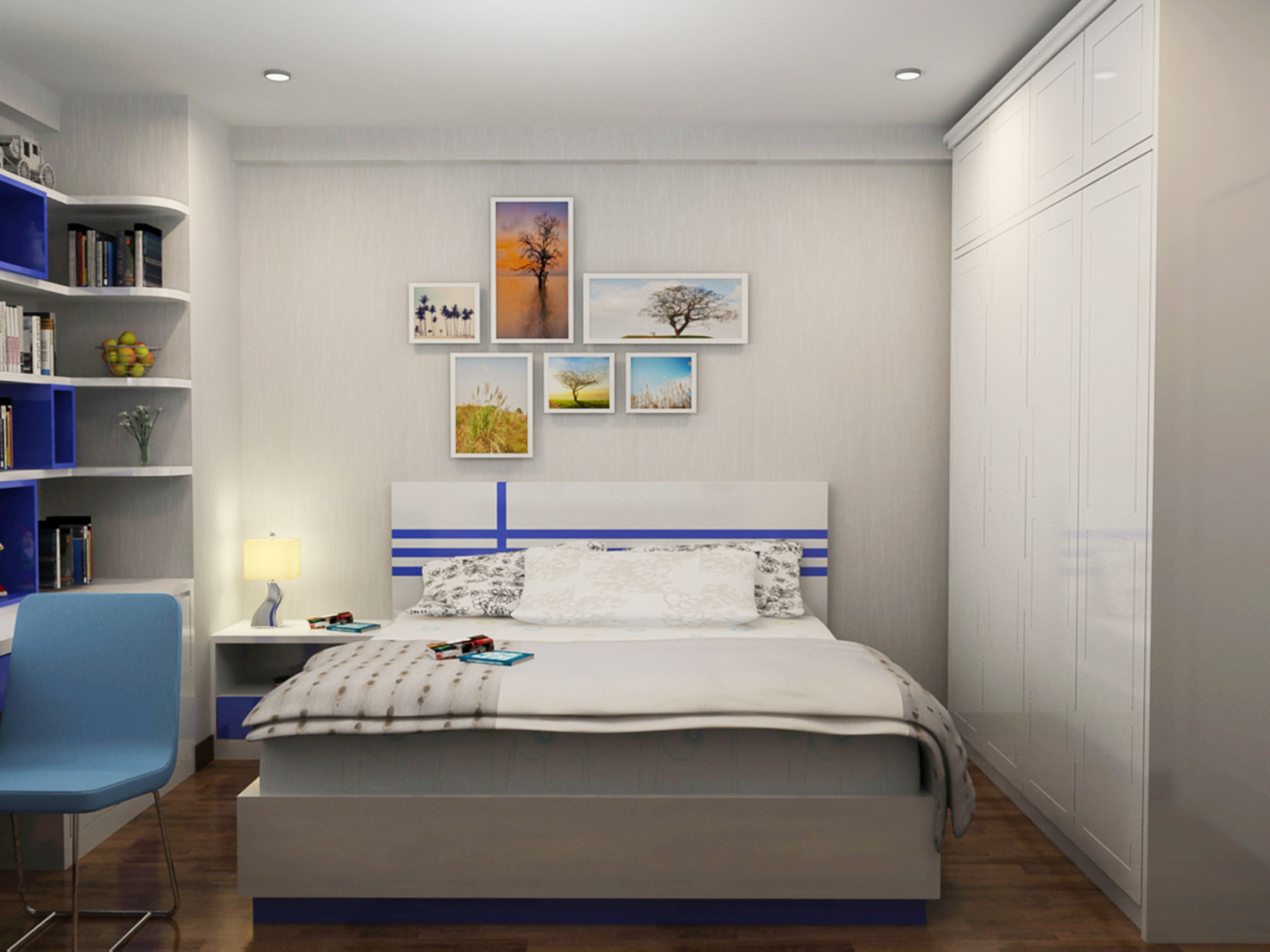 Với diện tích 20m2, việc thiết lập không gian nội thất phòng ngủ với đầy đủ tiện nghi là điều khá dễ dàng