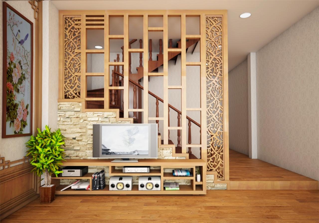 Một căn phòng khách sử dụng vách ngăn dạng lam gỗ sẽ mang đến cảm giác ấm áp, thân mật nhưng cũng đầy vững chãi