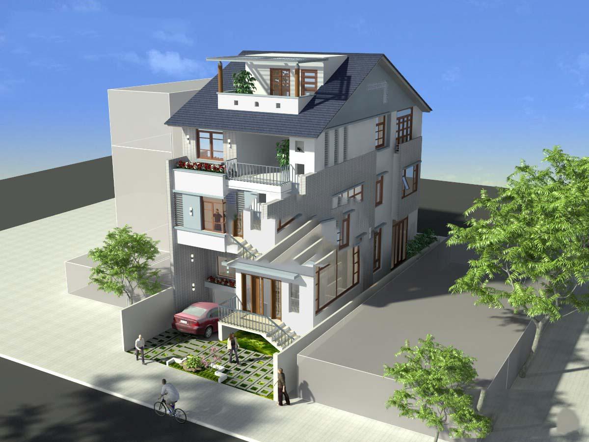 Thiết kế tầng hầm nhô lên phía trên mặt đất để tạo độ thông thoáng cho không gian bên trong ngôi nhà