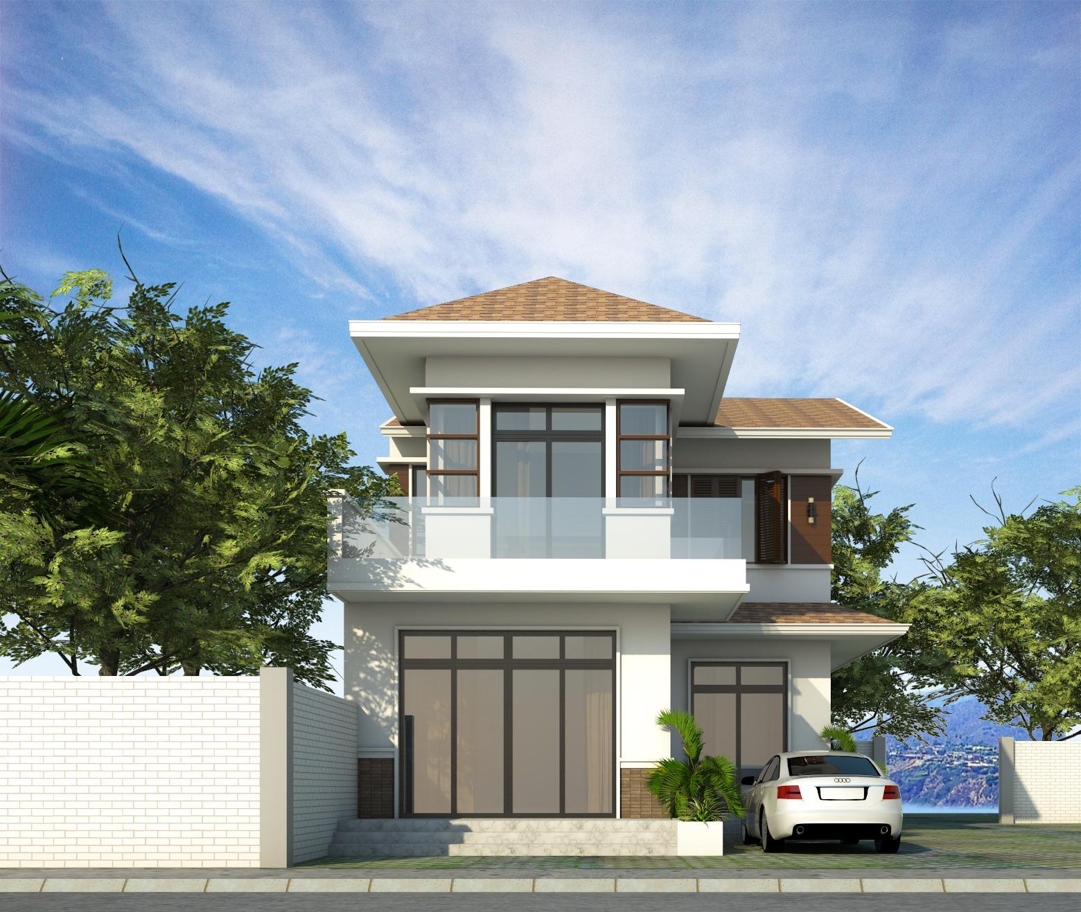 Với tông màu kem nhẹ nhàng tinh tế, khi nhìn từ xa, ngôi nhà sẽ mang đến cảm giác thoáng đãng, rộng rãi