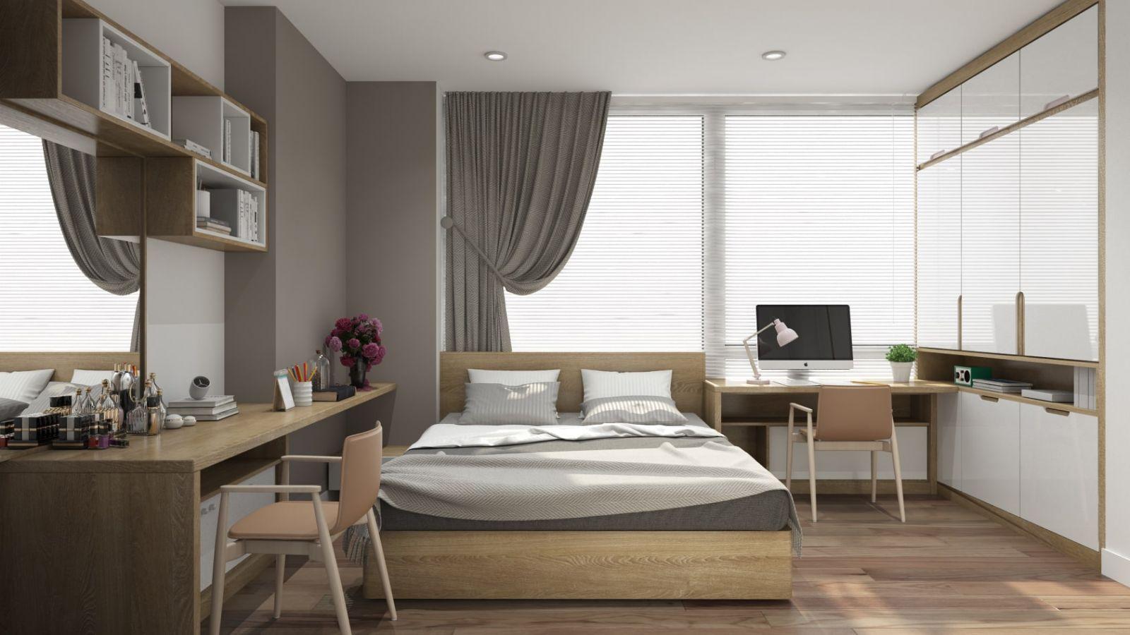 Gia chủ có thể chọn rèm cửa có tông màu nâu gỗ nhẹ nhàng để tạo nên sự thư thái, cho giấc ngủ trọn vẹn, đắm say cho nhà ống mặt tiền 7m