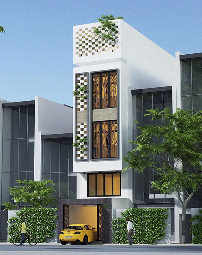 Mặt tiền nhà 3 tầng mái bằng là lối kiến trúc khỏe khoắn, hiện đại mà đơn giản