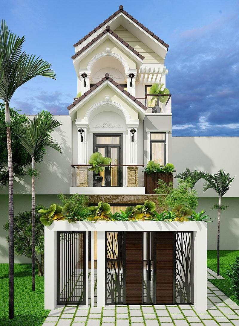 Những ngôi nhà 3 tầng có mặt tiền rộng 5m, 6m, 7m… rất thích hợp để xây nhà 3 tầng mái thái