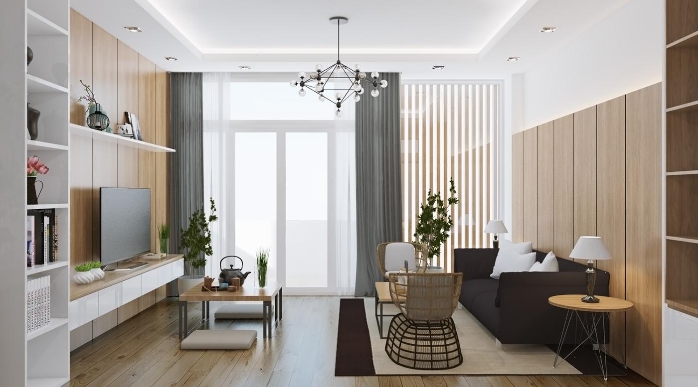 Bộ bàn ghế sofa được đặt để sát tường chỉnh chu, gọn gàng bên cạnh bộ bàn trà nhỏ mang phong cách Nhật đậm nét