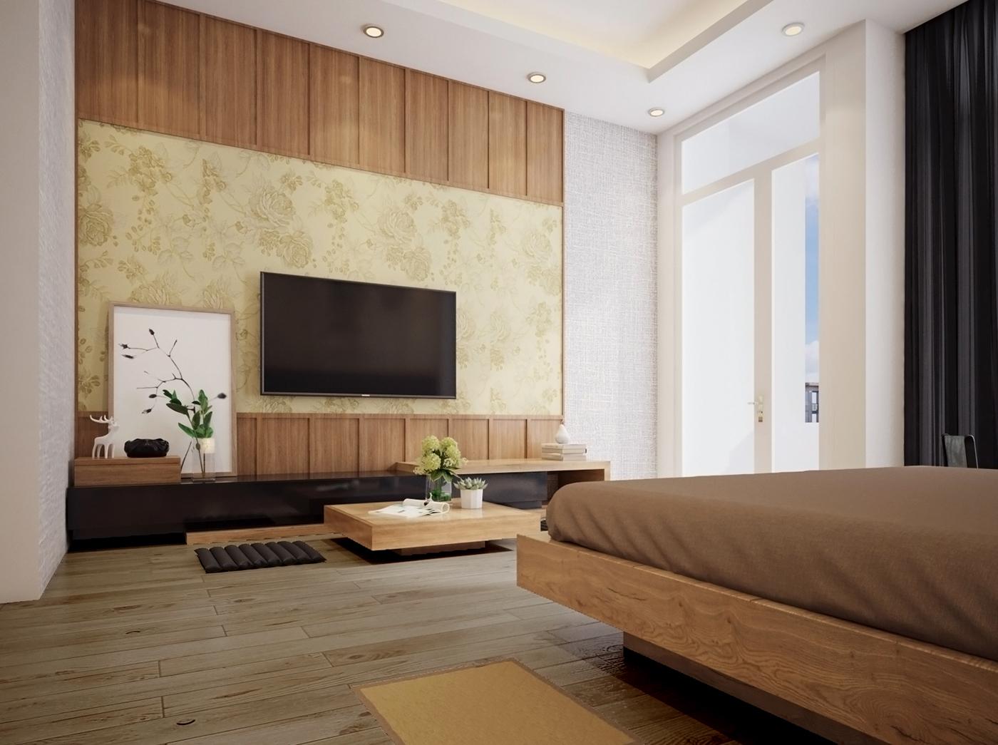Khi bước vào phòng ngủ nhà phố rộng 6m 3 tầng, bạn sẽ cảm nhận sự ấm áp mộc mạc từ sàn gỗ