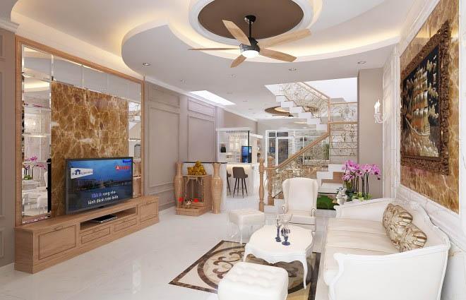 Phòng khách nhà ống 5m