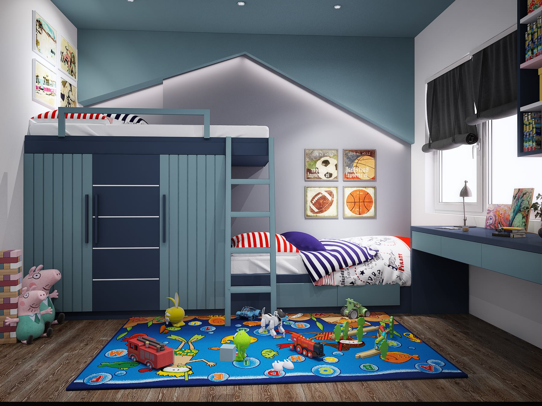 Mẫu giường tầng gam màu xanh biển được thiết kế như một ngôi nhà hiện đại với phần chóp mái nhà y như thật
