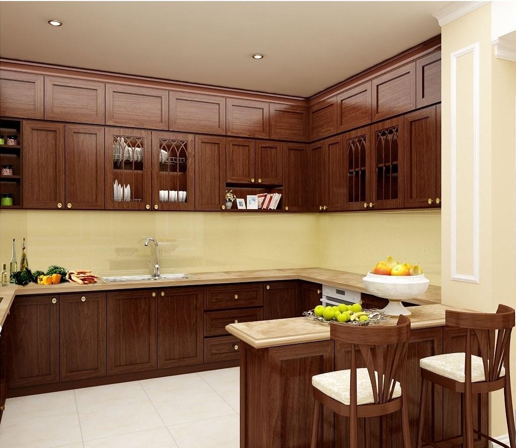 Nếu trong không gian nhà bếp có một gam màu đơn điệu, bạn hãy điểm xuyết một chút màu sắc tươi mới cho tủ bếp