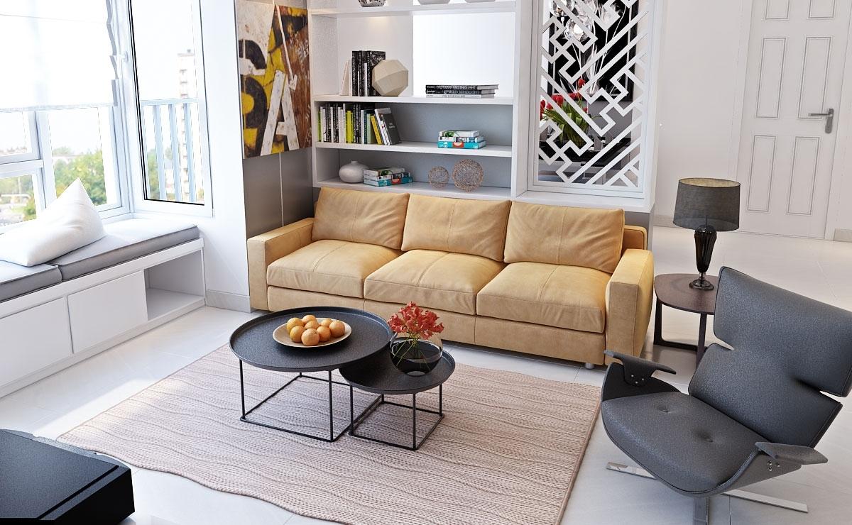 Đối với phòng khách nhỏ gọn, bạn nên thay thế tường bê tông bằng tường kính hoặc thiết kế cửa sổ lớn