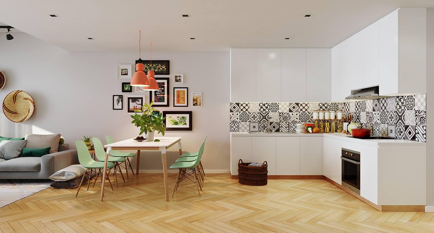 Để bổ sung thêm yếu tố Mộc cho gian bếp, bạn cần chọn bức tranh mang hành Mộc