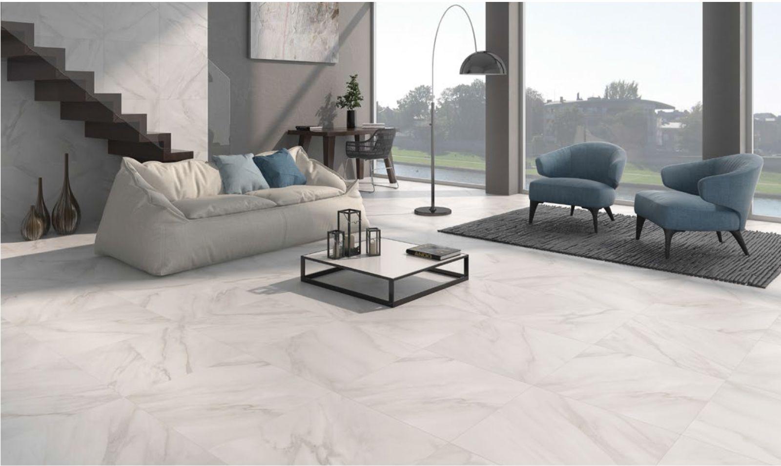 Gạch lát nền nhà màu xám thuộc gam màu trung tính, được coi là xu hướng lựa chọn của nhiều gia chủ