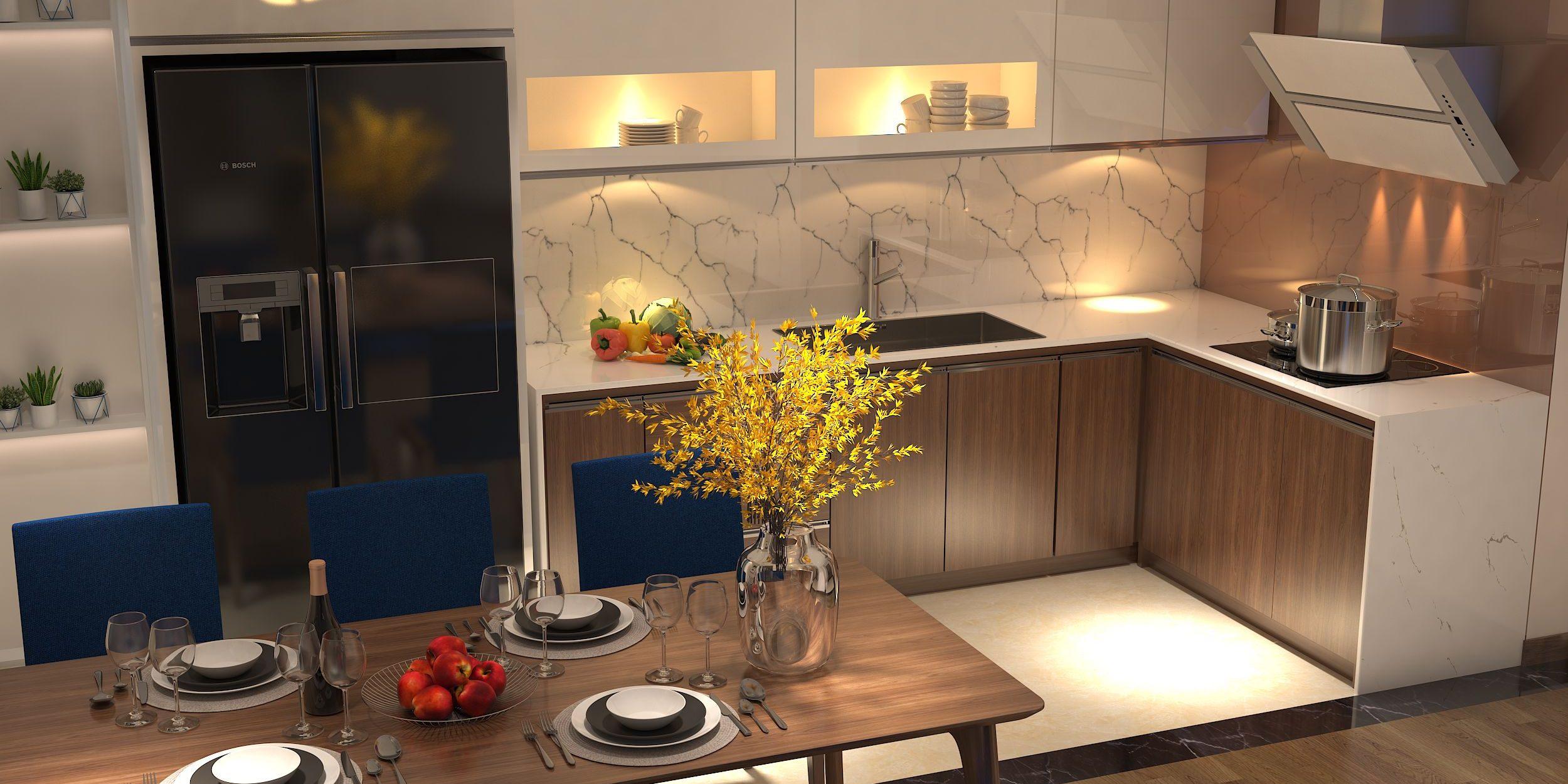 Gia chủ có thể đem thiên nhiên vào ngôi nhà bằng cách trang trí gian bếp đơn giản với những bình hoa