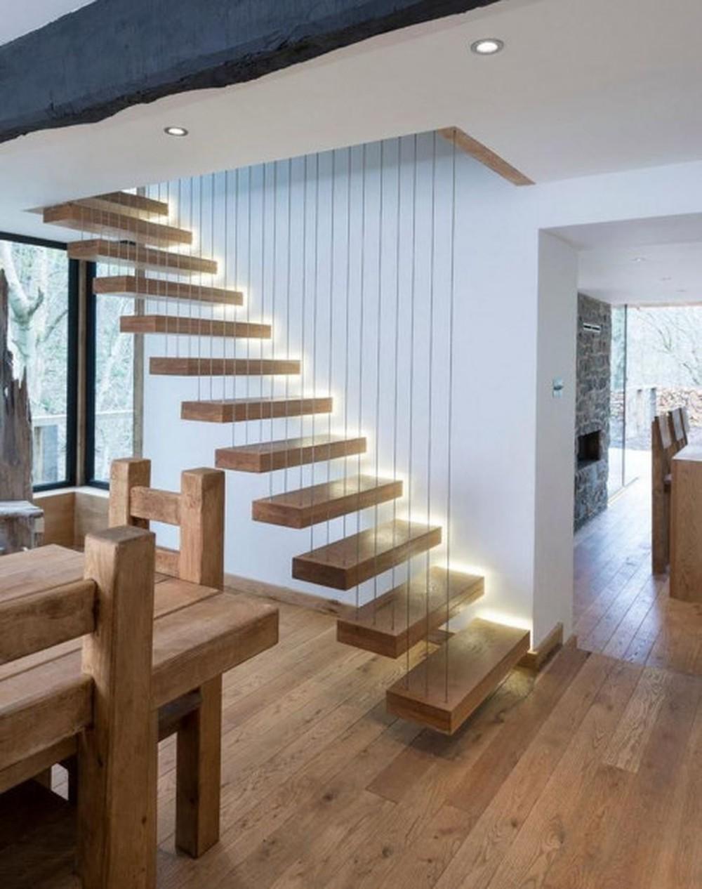 Thiết kế cầu thang thẳng với hình dáng đơn giản, theo chiều thẳng với độ dốc vừa phải
