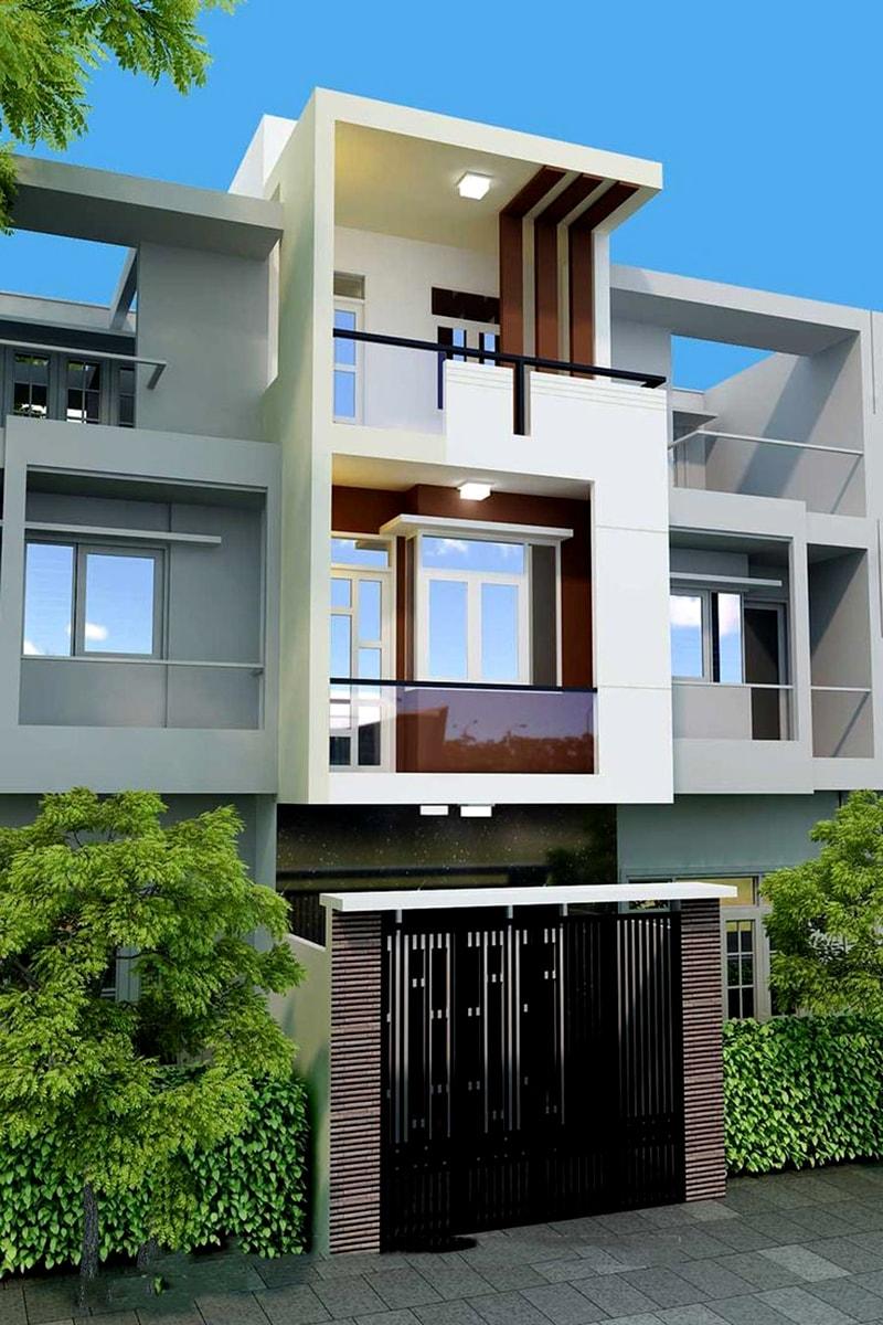 Phía trước ngôi nhà sẽ nổi bật với hình khối vuông vắn, các đường nét kiến trúc mạnh mẽ kết hợp với tone màu nhẹ nhàng, thanh lịch