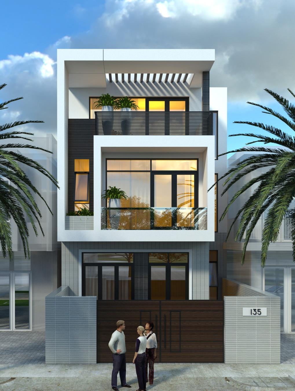Mẫu thiết kế nhà đẹp mặt tiền 5m này được phối cảnh theo phong cách hiện đại, đầy trẻ trung