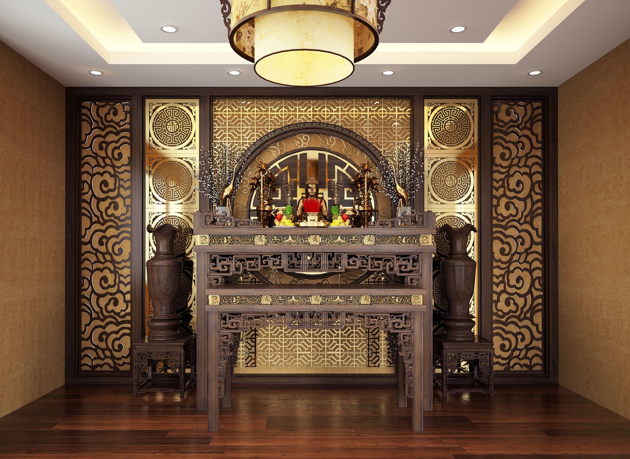 Trang trí phòng thờ kết hợp ý tưởng chọn gỗ tự nhiên để chạm khắc họa tiết rồng phượng múa lượn rất phù hợp với truyền thống phong tục tế bái