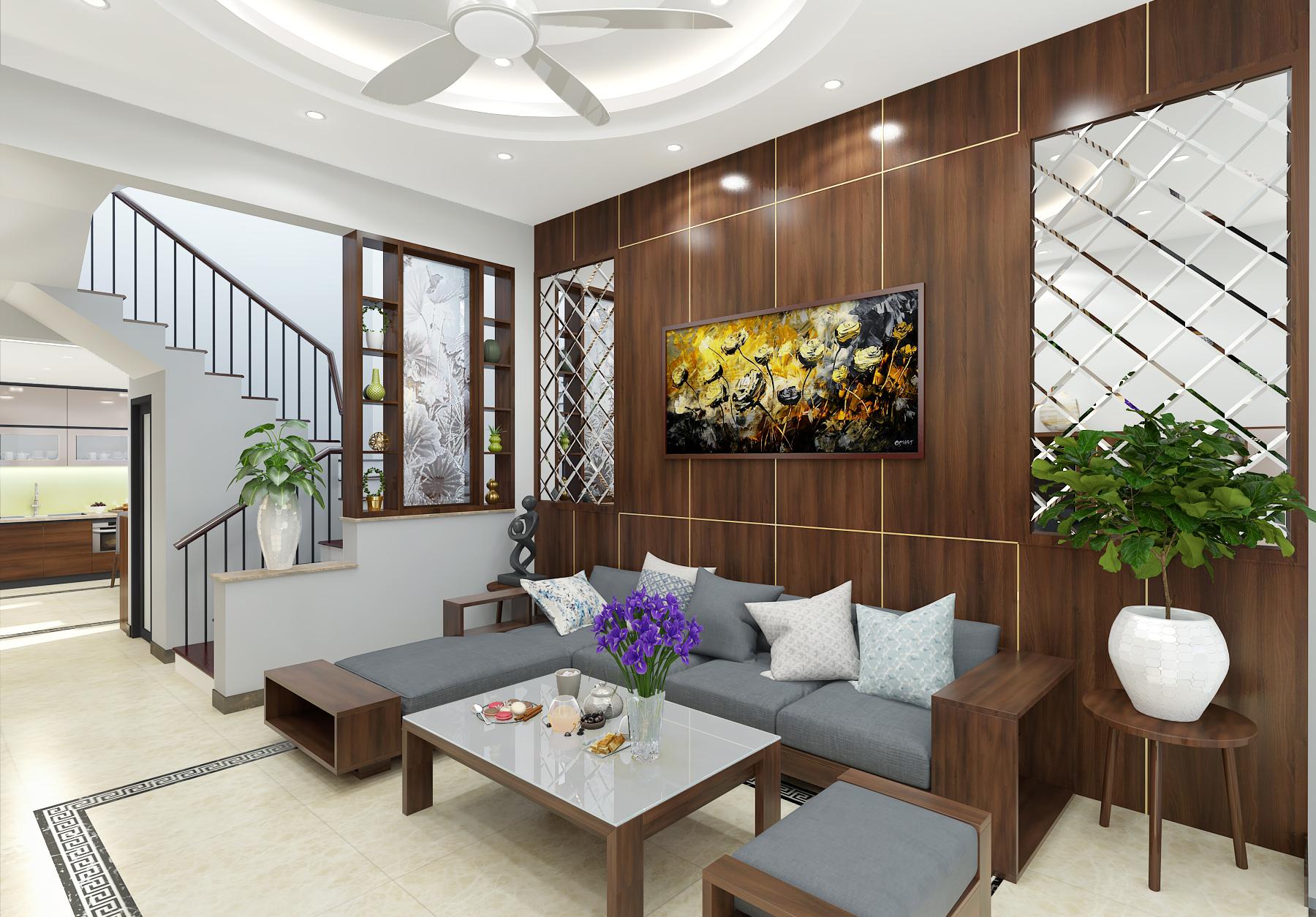 Màu trắng sạch sẽ, tinh khiết kết hợp đường chỉ gạch sẽ tạo điểm nhấn mới lạ cho không gian phòng khách