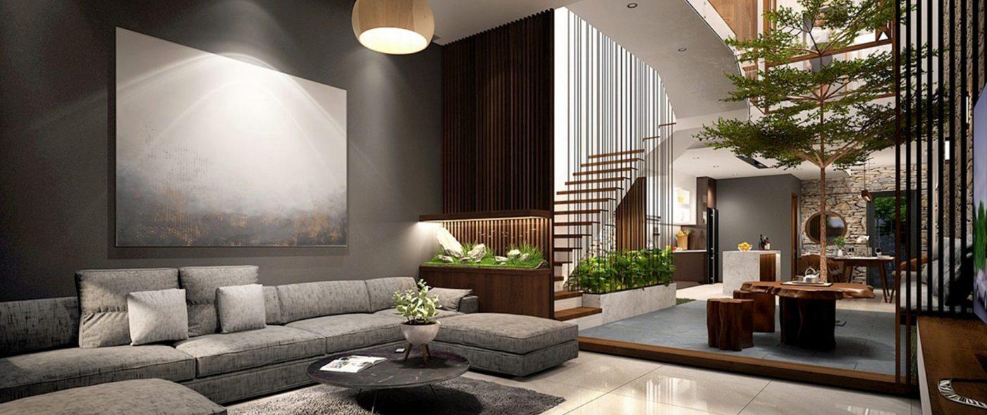 Giếng trời mang đến sự thông thoáng và ánh sáng tự nhiên cho thiết kế không gian đẹp của ngôi nhà